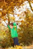 Πορτρέτο φθινοπώρου του χαριτωμένου αγοριού Στοκ εικόνες με δικαίωμα ελεύθερης χρήσης