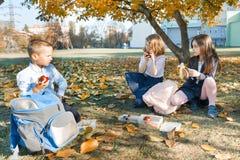 Πορτρέτο φθινοπώρου των παιδιών με τα καλαθάκια με φαγητό, σχολικές τσάντες Οι εύθυμοι μαθητές τρώνε τη συνεδρίαση φρούτων κάτω α στοκ εικόνες