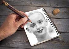 πορτρέτο χεριών κοριτσιών σχεδίων τέχνης Στοκ Εικόνες