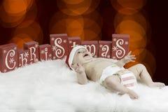 Πορτρέτο Χριστουγέννων μωρών στοκ εικόνες