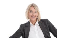 Πορτρέτο: Όμορφη μέση ηλικίας απομονωμένη επιχειρηματίας Στοκ Εικόνες