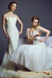 Πορτρέτο δύο νέων όμορφων ευρωπαϊκών νυφών που φορούν τις αποκλειστικές γαμήλιες εσθήτες στοκ φωτογραφίες με δικαίωμα ελεύθερης χρήσης