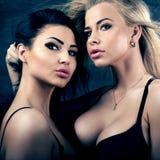 Πορτρέτο δύο προκλητικών κοριτσιών Στοκ εικόνα με δικαίωμα ελεύθερης χρήσης