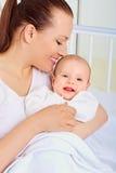 Πορτρέτο mom και μωρό closeup μωρό mom Στοκ Φωτογραφία