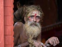 Πορτρέτο Sadhu στο ναό Pashupatinath στο Κατμαντού, Νεπάλ Στοκ Φωτογραφίες