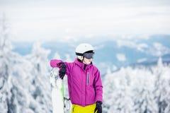 Πορτρέτο Snowboarder υπαίθρια Στοκ Εικόνες