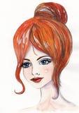 Πορτρέτο Watercolor ενός όμορφου νέου κοριτσιού Στοκ Φωτογραφίες