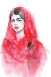 Πορτρέτο Watercolor της ινδικής γυναίκας Συρμένη χέρι γυναίκα ομορφιάς στο hijab Στοκ Εικόνες