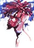 Πορτρέτο Watercolor του αφρικανικού ατόμου ελεύθερη απεικόνιση δικαιώματος