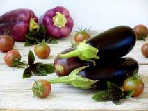 Πορφυρά λαχανικά για το ratatouille ή stew στο ελαφρύ ξύλινο υπόβαθρο Στοκ Εικόνες