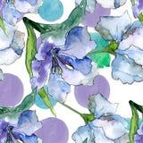 Πορφυρά και μπλε λουλούδια alstroemeria Floral βοτανικό λουλούδι Άνευ ραφής πρότυπο ανασκόπησης Στοκ Εικόνες