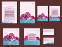 Πορφυρά και μπλε ζωηρόχρωμα φυλλάδια, επαγγελματικές κάρτες με το σχέδιο κάστρων Στοκ Φωτογραφία