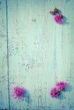 Πορφυρά λουλούδια κάρδων στον παλαιό ξύλινο πίνακα, εκλεκτής ποιότητας χρώματα Στοκ Εικόνα