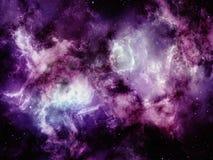 Πορφυρά σύννεφα του νεφελώματος με τα αστέρια στο μακρινό διάστημα στοκ φωτογραφίες με δικαίωμα ελεύθερης χρήσης