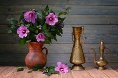 Πορφυρά hibiscus σε ένα κεραμικό βάζο Στοκ εικόνες με δικαίωμα ελεύθερης χρήσης