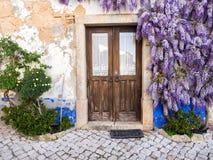 Πορφυρές αυξανόμενες arounf πόρτες εγκαταστάσεων wisteria ενός παλαιού σπιτιού Po Στοκ φωτογραφία με δικαίωμα ελεύθερης χρήσης