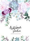 Πορφυρή, άσπρη και ροζ κάρτα σχεδίου λουλουδιών διανυσματική ελεύθερη απεικόνιση δικαιώματος