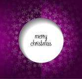 Πορφυρή ευχετήρια κάρτα Χριστουγέννων με το κείμενο Χαρούμενα Χριστούγεννας Ελεύθερη απεικόνιση δικαιώματος