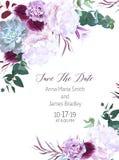 Πορφυρή και άσπρη διανυσματική κάρτα γαμήλιου σχεδίου λουλουδιών ελεύθερη απεικόνιση δικαιώματος