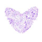 Πορφυρή καρδιά υπό μορφή λουλουδιού και φυλλώματος διάνυσμα Απεικόνιση αποθεμάτων