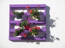 Πορφυρή παλέτα με τα λουλούδια στοκ φωτογραφίες