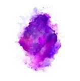 Πορφυροί, ιώδεις, ιώδεις και μπλε λεκέδες watercolor Φωτεινό στοιχείο χρώματος για το αφηρημένο καλλιτεχνικό υπόβαθρο διανυσματική απεικόνιση