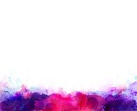 Πορφυροί, ιώδεις, ιώδεις και ρόδινοι λεκέδες watercolor Φωτεινό στοιχείο χρώματος για το αφηρημένο καλλιτεχνικό υπόβαθρο απεικόνιση αποθεμάτων