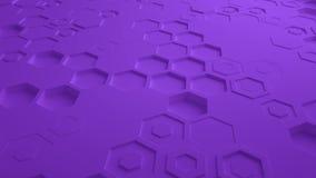 Πορφυρός αφηρημένος Hexagon γεωμετρικός άνευ ραφής βρόχος 4K UHD επιφάνειας Μπροστινή όψη ελεύθερη απεικόνιση δικαιώματος