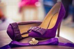 πορφυρός γάμος παπουτσιώ& Στοκ Εικόνα