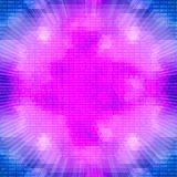 Πορφυρός καμμένος κβαντικός επεξεργαστής σε ένα υπόβαθρο δυαδικού κώδικα Στοκ Φωτογραφία