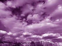Πορφυρός ουρανός Μαρτίου πέρα από τη γειτονιά Στοκ Εικόνα