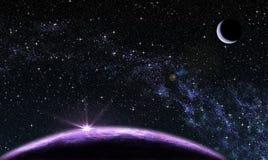 Πορφυρός πλανήτης με το δορυφόρο Στοκ Εικόνες
