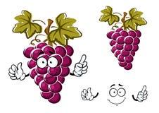 Πορφυρός χαρακτήρας φρούτων σταφυλιών κινούμενων σχεδίων Στοκ Εικόνες