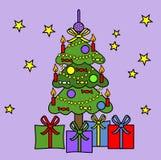 πορφυρό δέντρο Χριστουγέν& Στοκ εικόνα με δικαίωμα ελεύθερης χρήσης
