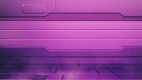 Πορφυρό εσωτερικό πρωτονίων με το κενό στάδιο Σύγχρονο μελλοντικό υπόβαθρο Έννοια τεχνολογίας της sci-Fi τεχνολογίας γεια τρισδιά διανυσματική απεικόνιση