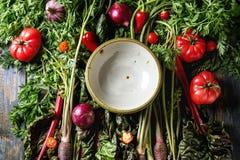 Πορφυρό καρότο με τα λαχανικά Στοκ Εικόνες