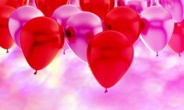 Πορφυρό κόκκινο ρόδινο κόμμα υποβάθρου γενεθλίων μπαλονιών στοκ φωτογραφία με δικαίωμα ελεύθερης χρήσης