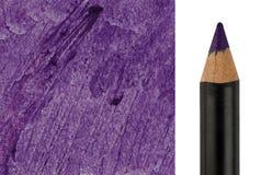 Πορφυρό μολύβι Makeup με το κτύπημα δειγμάτων Στοκ Εικόνα
