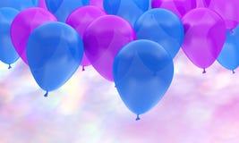 Πορφυρό μπλε κόμμα υποβάθρου γενεθλίων μπαλονιών στοκ εικόνες με δικαίωμα ελεύθερης χρήσης