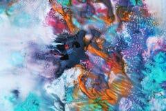 Πορφυρό μπλε ρόδινο ζωηρόχρωμο χρώμα watercolor, μαλακά χρώματα μιγμάτων, υπόβαθρο σημείων ζωγραφικής, ζωηρόχρωμο αφηρημένο υπόβα Στοκ Φωτογραφία