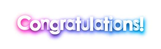 Πορφυρό σημάδι συγχαρητηρίων στο άσπρο υπόβαθρο ελεύθερη απεικόνιση δικαιώματος