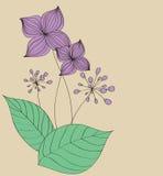 Πορφυρό σχέδιο προτύπων καρτών λουλουδιών Στοκ Εικόνες