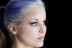Πορφυρό τρίχωμα μπλε ματιών Στοκ Εικόνα