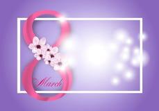 Πορφυρό υπόβαθρο για την ημέρα των διεθνών γυναικών στις 8 Μαρτίου διακοπών Πλαίσιο με τα ρόδινα λουλούδια και το ψηφίο οκτώ διάν ελεύθερη απεικόνιση δικαιώματος