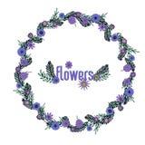 Πορφυρό floral στεφάνι ελεύθερη απεικόνιση δικαιώματος