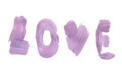 Πορφύρα λέξης αγάπης που γράφεται στο ελαιόχρωμα σε ένα άσπρο υπόβαθρο, που απομονώνεται Στοκ εικόνα με δικαίωμα ελεύθερης χρήσης