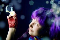 πορφύρα τριχώματος κοριτσιών Στοκ φωτογραφία με δικαίωμα ελεύθερης χρήσης