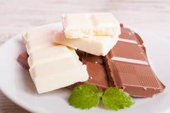 Πορώδης άσπρη σοκολάτα και σοκολάτα γάλακτος σε ένα άσπρο πιάτο Στοκ Εικόνα