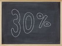 Ποσοστό που γράφεται σε έναν πίνακα Στοκ Εικόνες