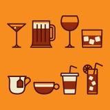 Ποτά & εικονίδια ποτών καθορισμένα Στοκ Εικόνες